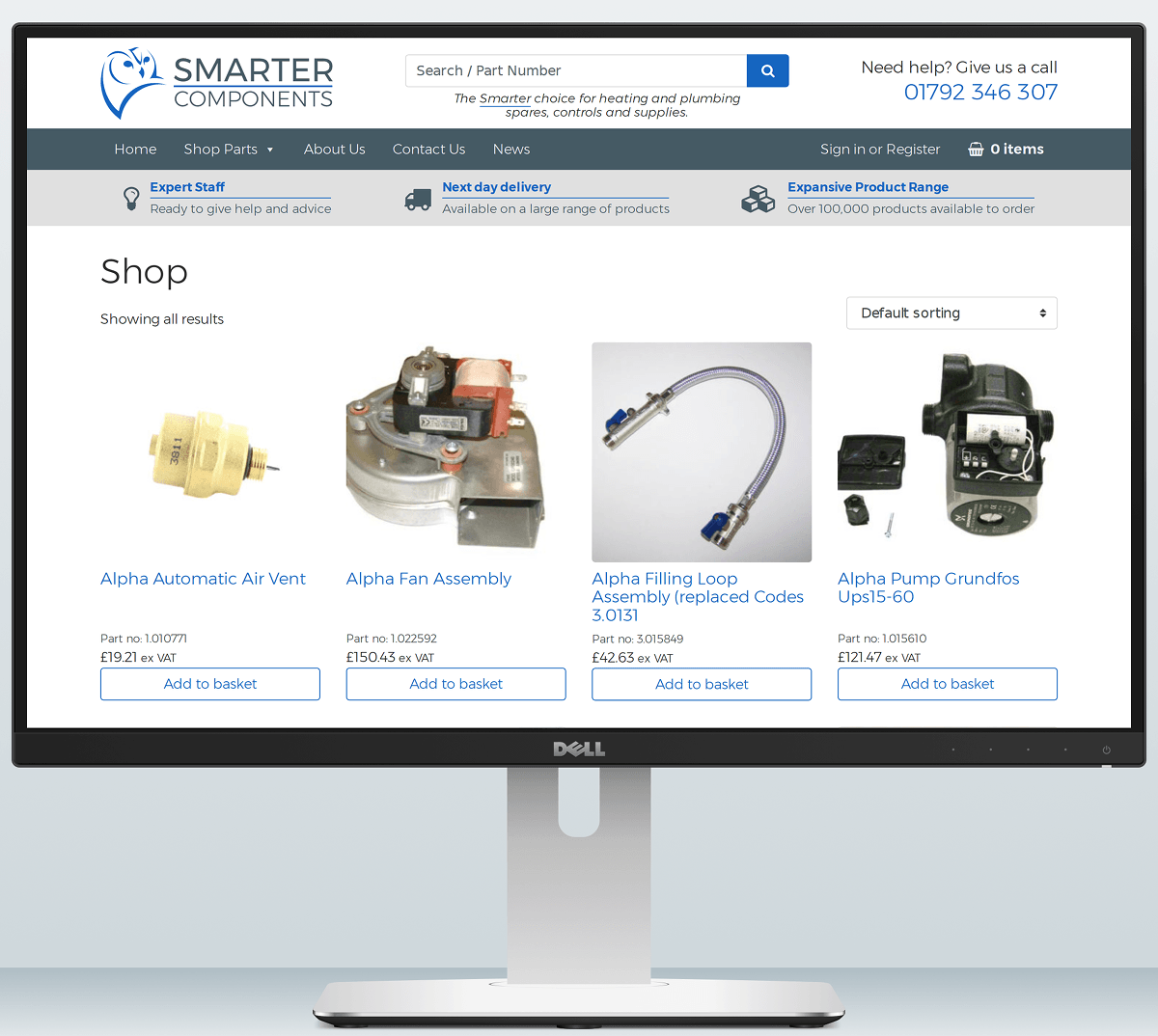 Smarter Components website on desktop